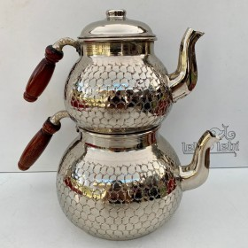 Bakır Nikel İkili Çaydanlık (Büyük Özel)